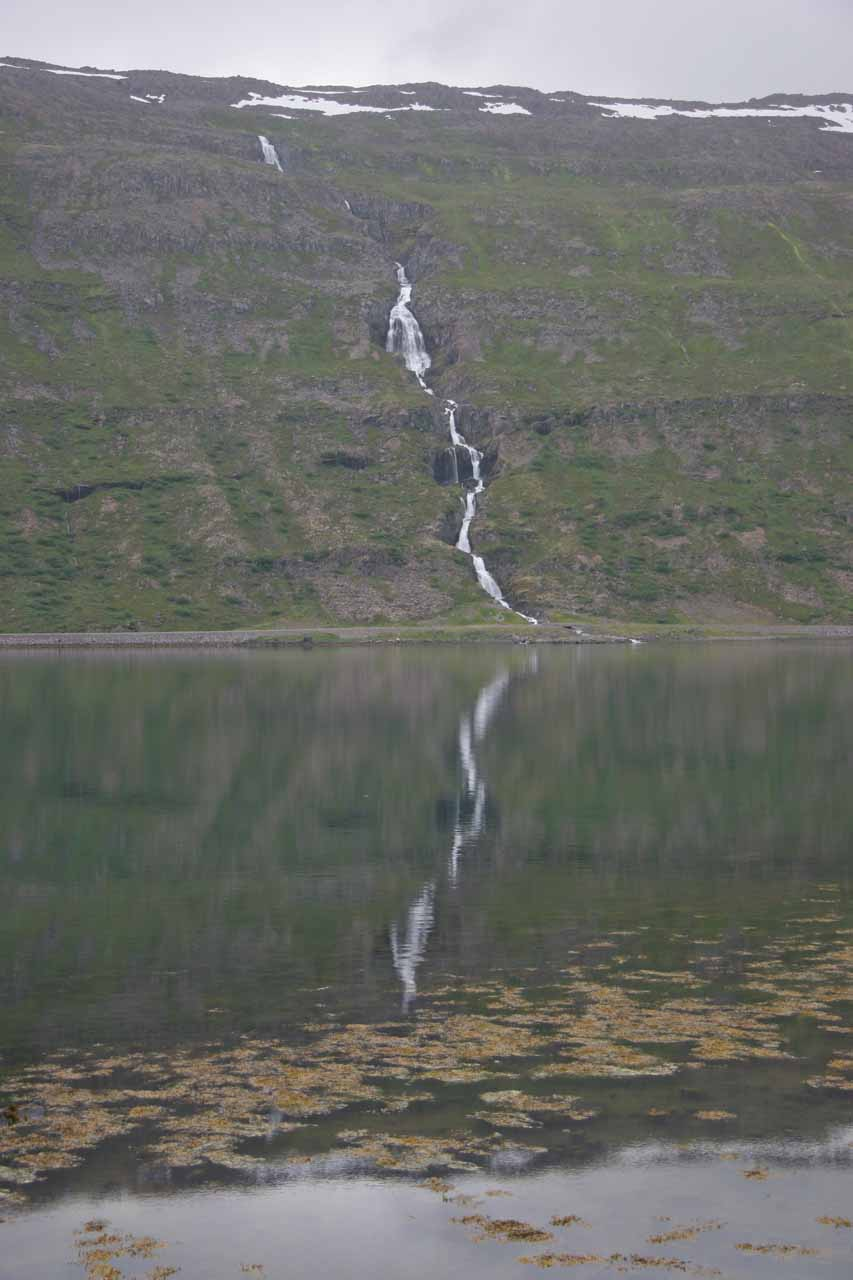 Tall cascade reflected in the fjord