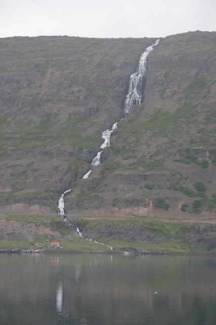 Westfjords_092_06252007 - A very tall cascade spilling into one of the many fjords within the remote Westfjords of Iceland