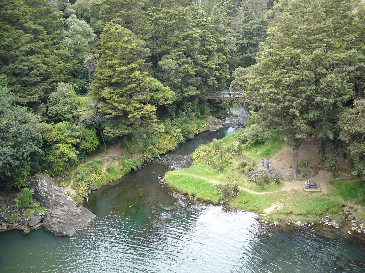 Looking down at the picnic table and bridge across the plunge pool of Whangarei Falls from its top