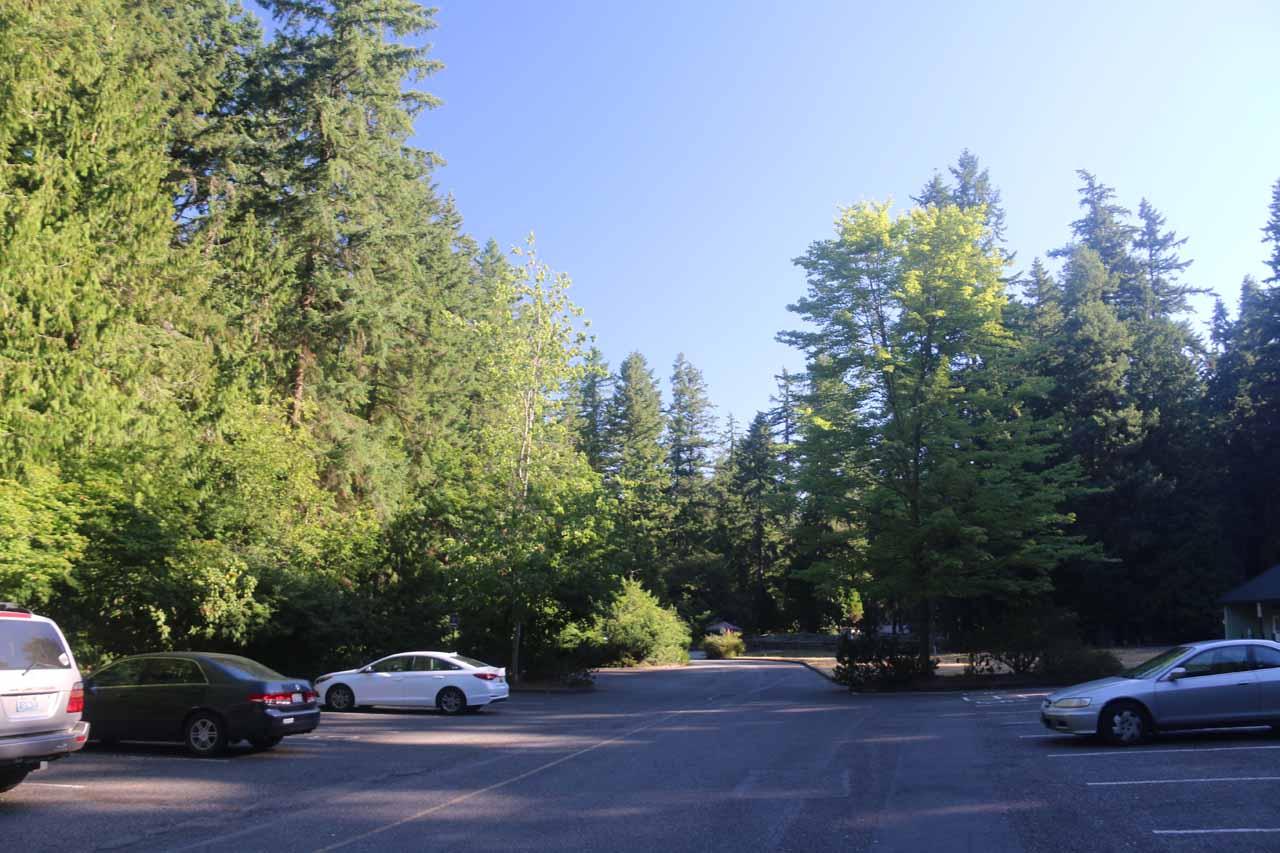 The parking lot for Whatcom Falls Park