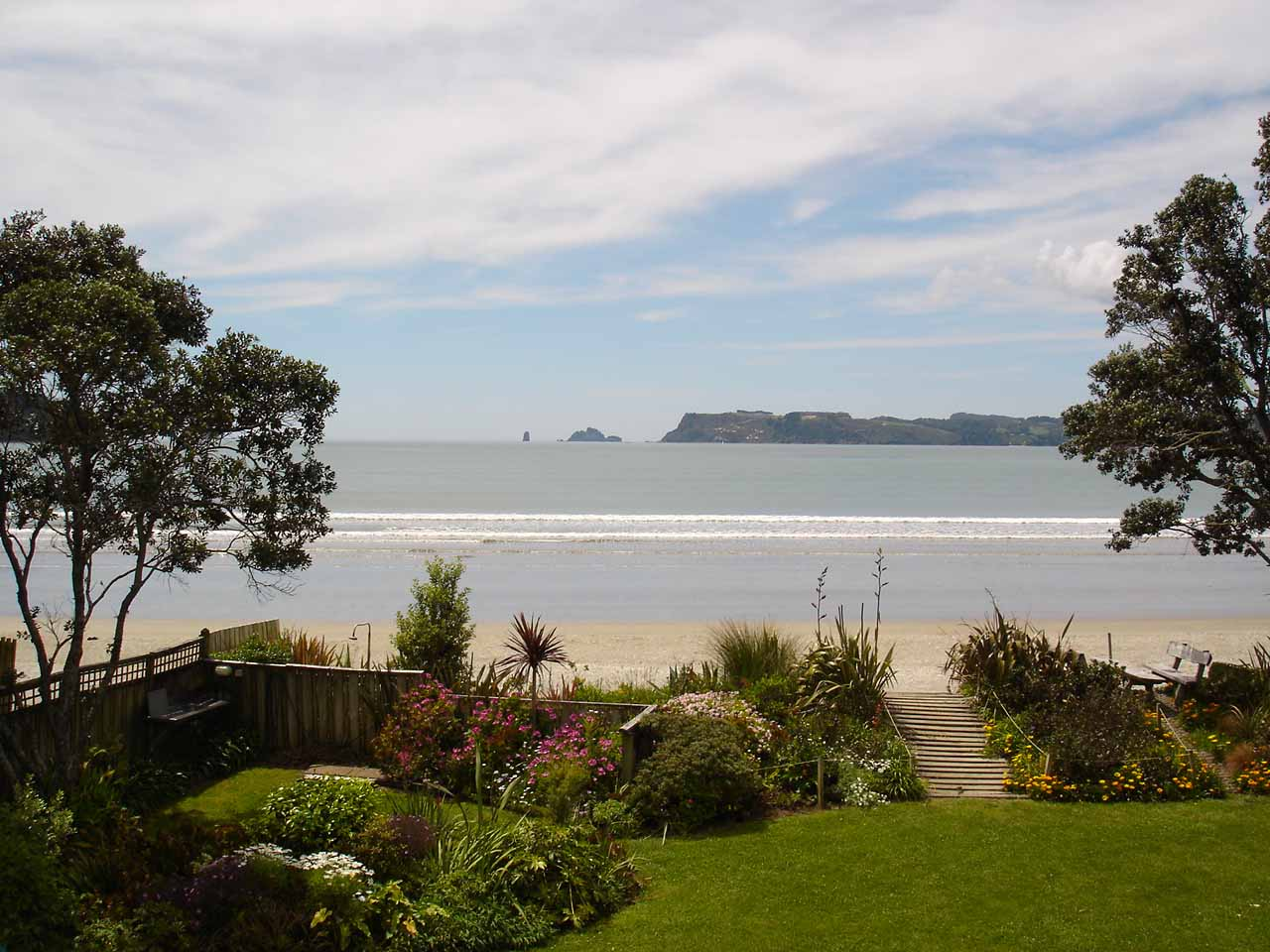 Ocean front view from the Mercury Bay Lodge in Whitianga