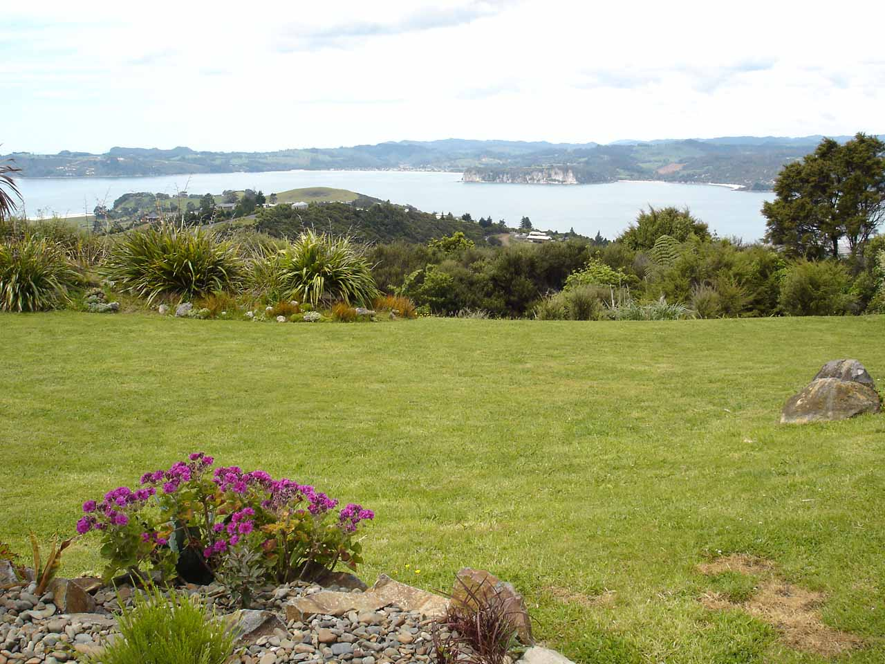 Looking over a lawn towards Mercury Bay