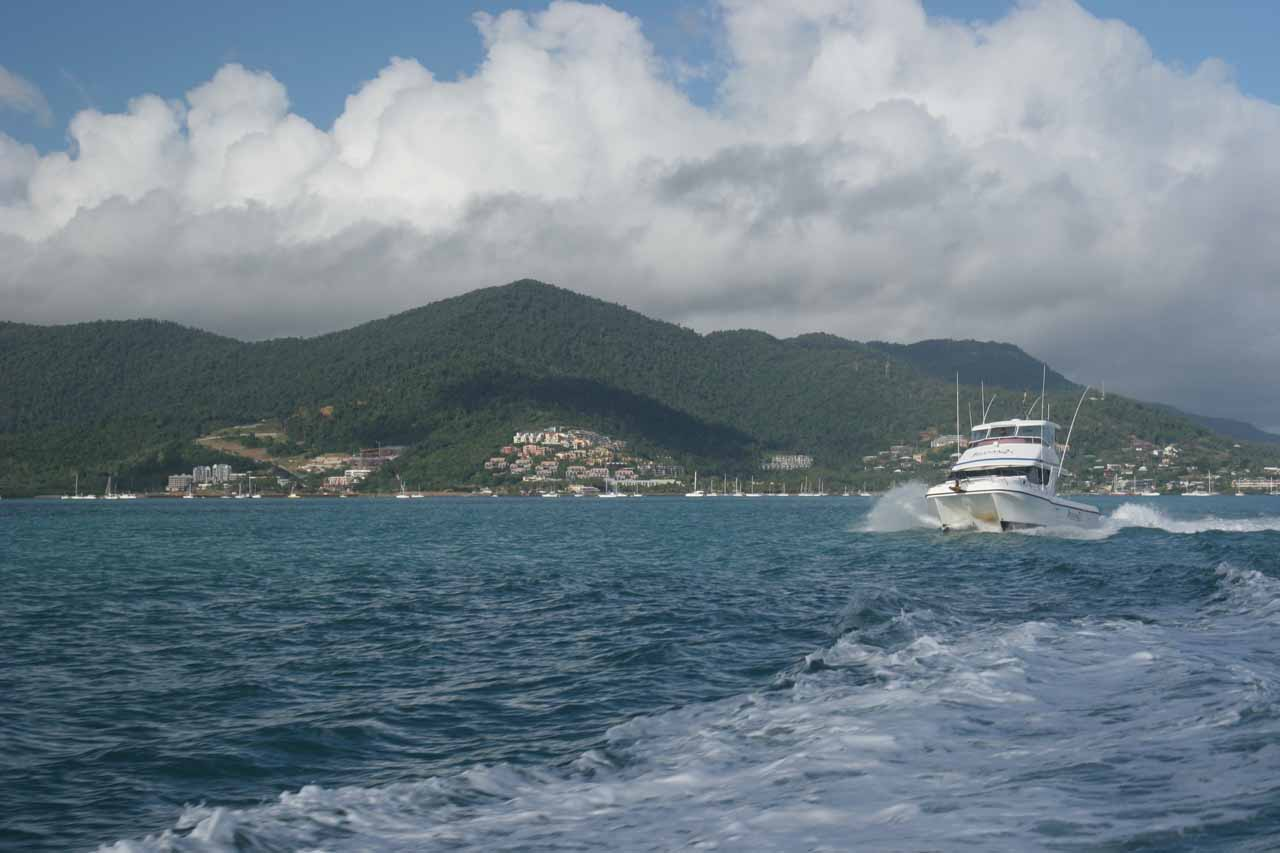 Boating towards Whitsunday Island