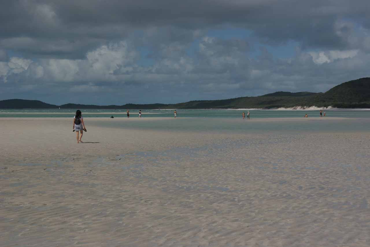 Julie walking on the shallow waters and sandbars of Whitehaven Beach