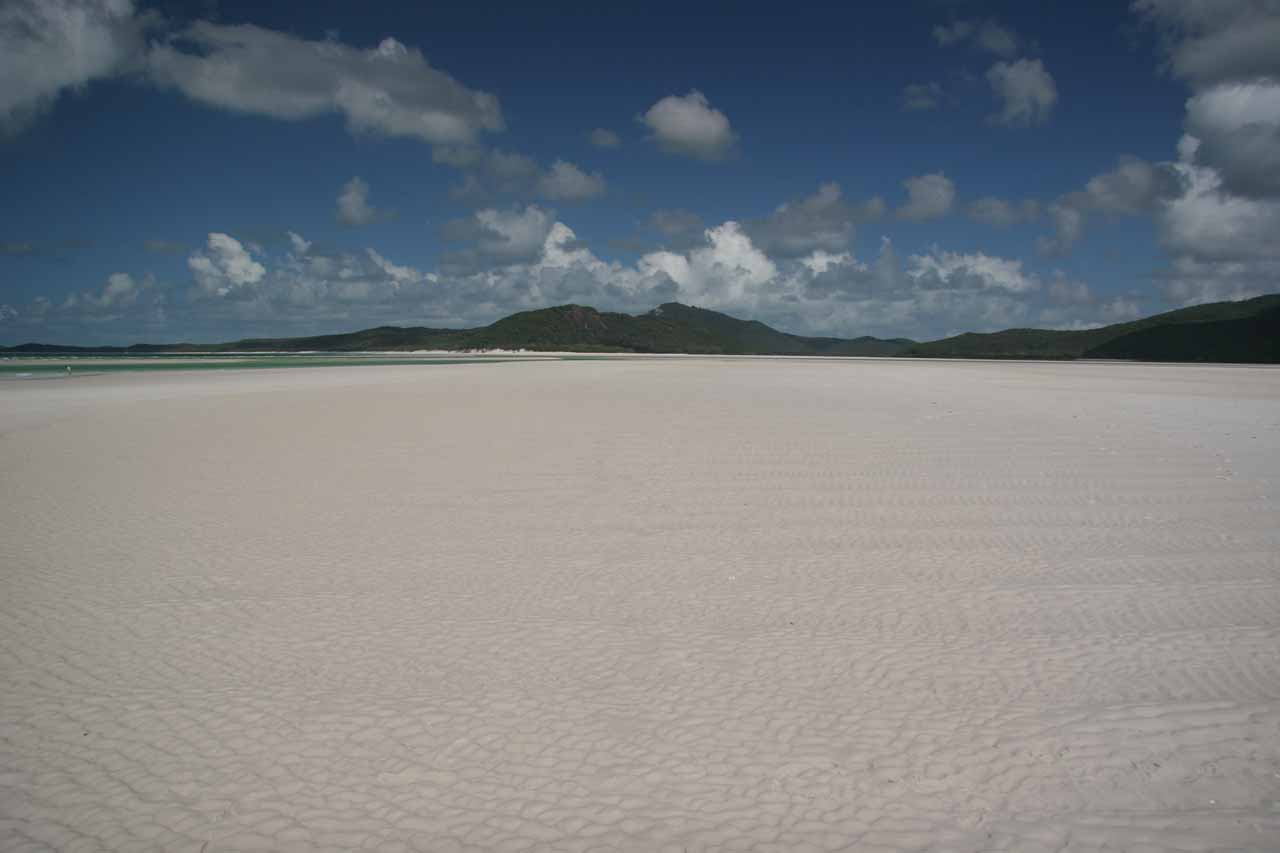 Roughly 150km north of Eungella National Park was the town of Airlie Beach, which was our launching point to get to the beautiful Whitsunday Islands, which featured white-sand beaches like this