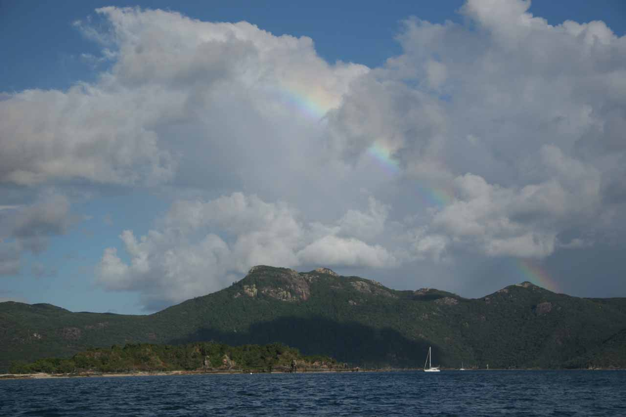 A rainbow seen on the way back to Airlie Beach