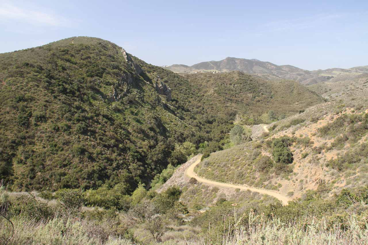 Looking into Wildwood Canyon from near Stagecoach Bluff Trail junction