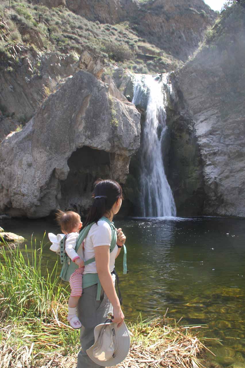 Julie and Tahia at Paradise Falls
