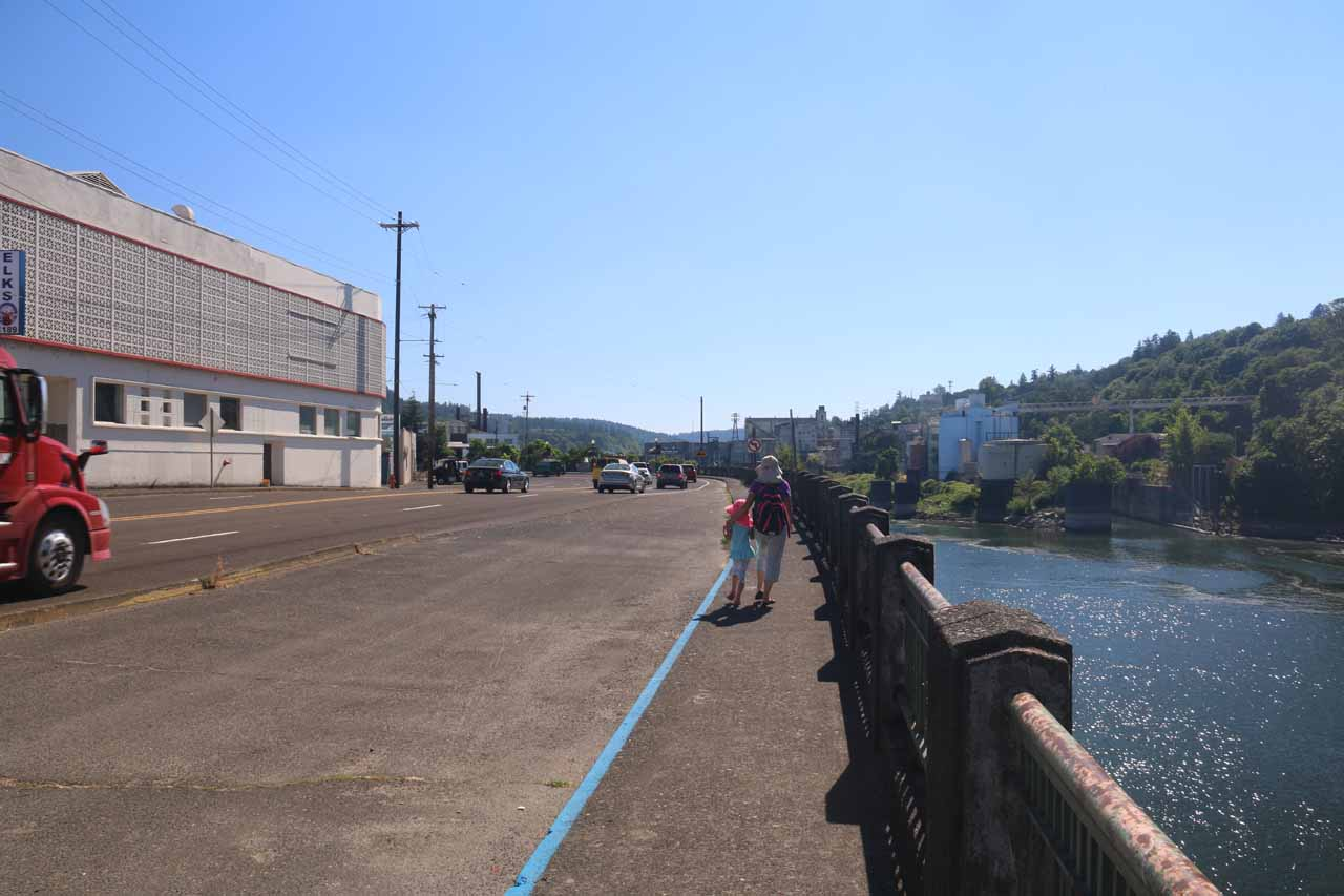 At first we walked around looking for sanctioned ways to get closer to the Willamette Falls