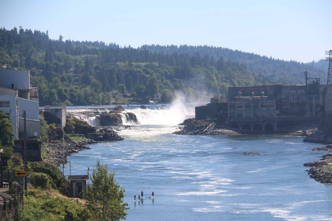 After a few minutes of finding our way onto the Oregon City Arch Bridge, we were finally able to get our first and only satisfying frontal views of Willamette Falls even if it was from quite a distance