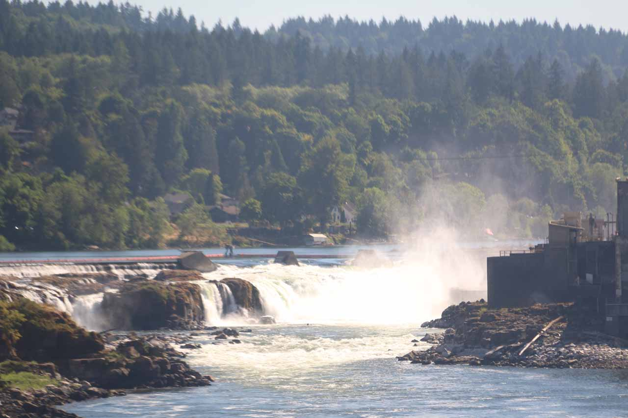 Distant view of Willamette Falls from the Old Oregon City and West Linn Bridge