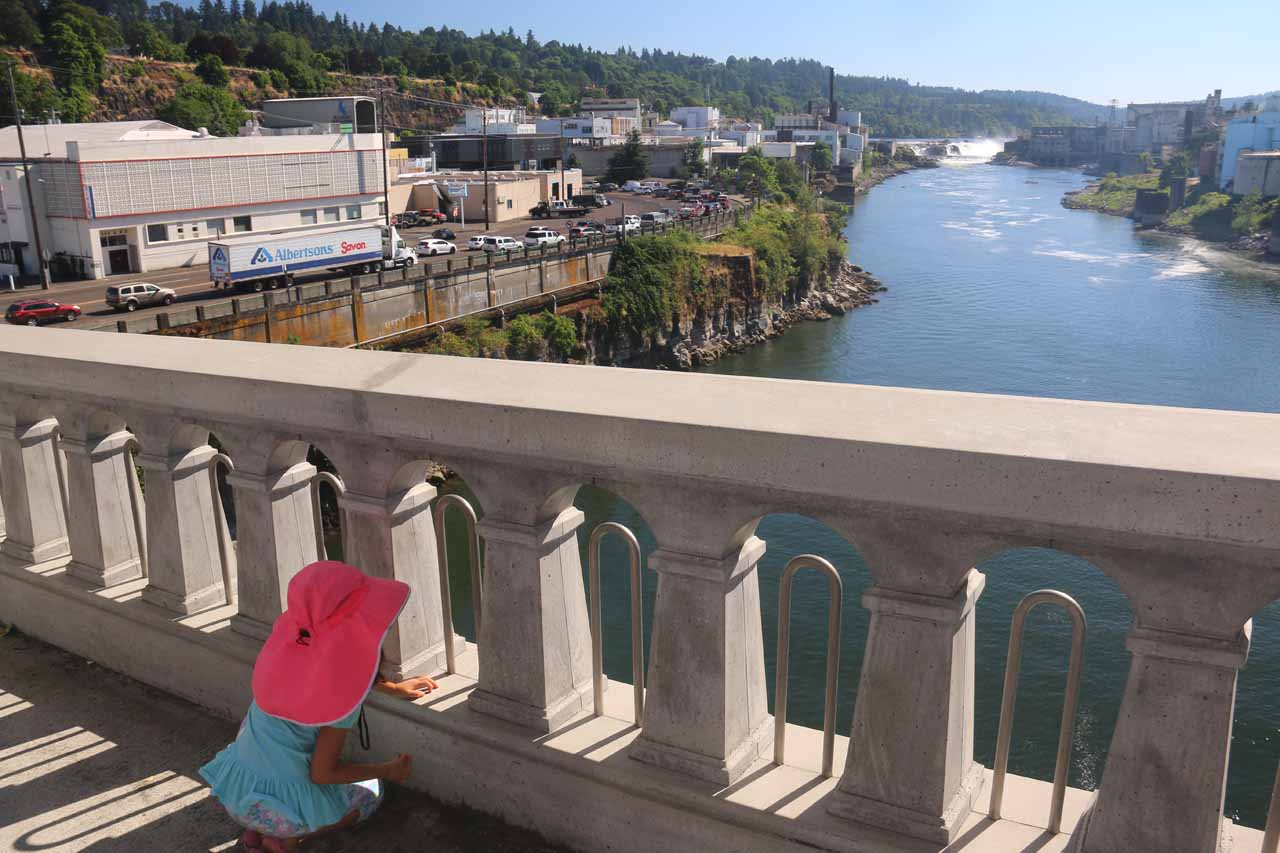 Protective railings were set up to give us some piece of mind that our daughter wouldn't plunge into the Willamette River
