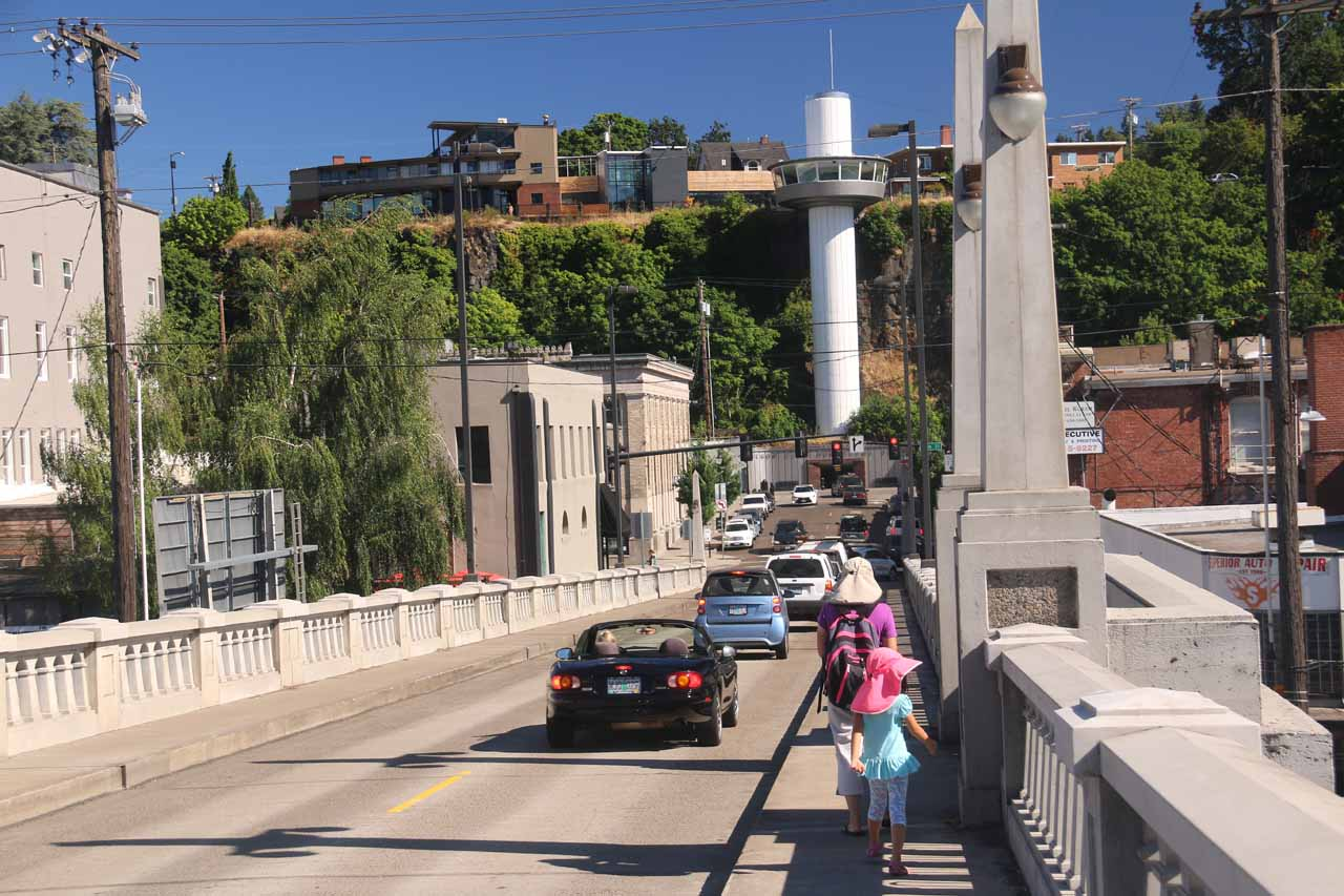 When walking to and from downtown Oregon City, we had to be mindful of the many cars that would whiz by us while walking the narrower sidewalks on the Oregon City Arch Bridge