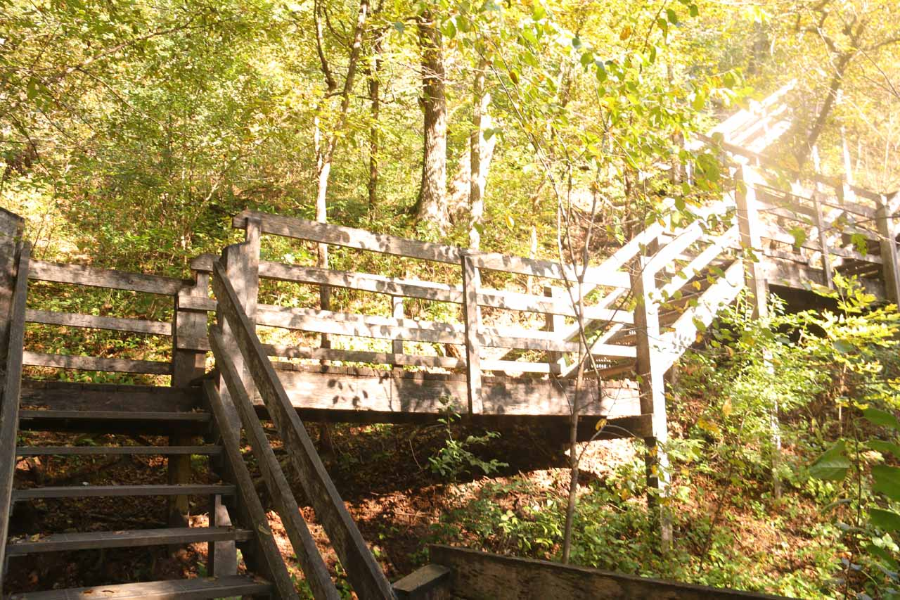 Stairs leading up to upper lookout for Willow Falls