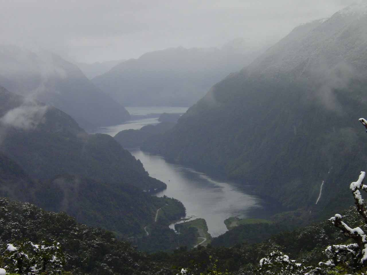 This was the view of the Deep Cove of Doubtful Sound from Wilmot Pass with Helena Falls on the far right