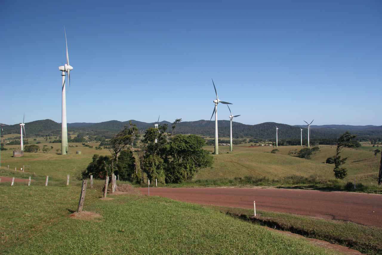 Since the 4wd road from Kennedy (north of Cardwell) was damaged by Cyclone Larry, we had to take a more roundabout approach from the north through the Atherton Tablelands (where we saw this windfarm)