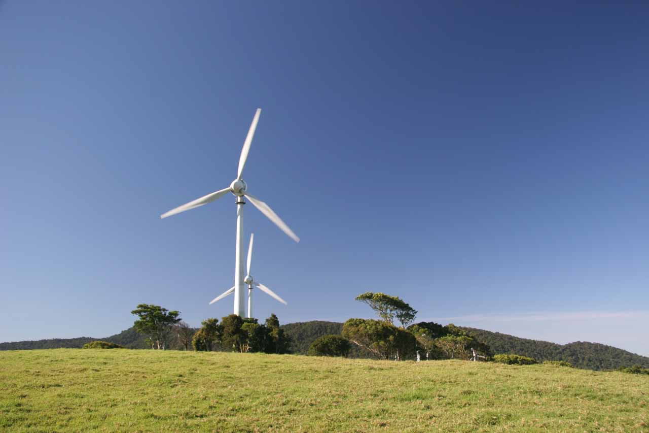 On the way to Dinner Falls along the Kennedy Highway east of Ravenshoe was the impressive Atherton Wind Farm at Windy Hill