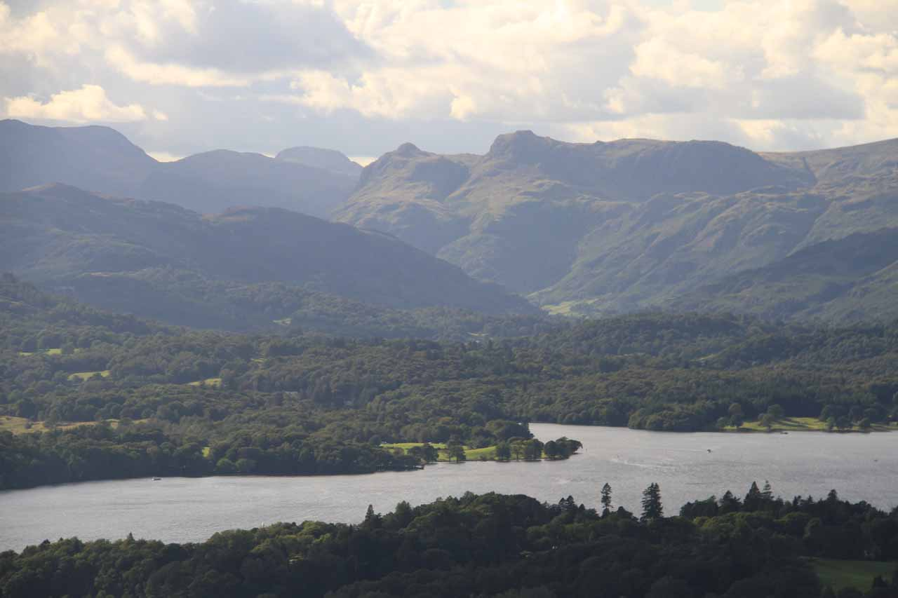 Closer look at Windermere backed by attractive fells