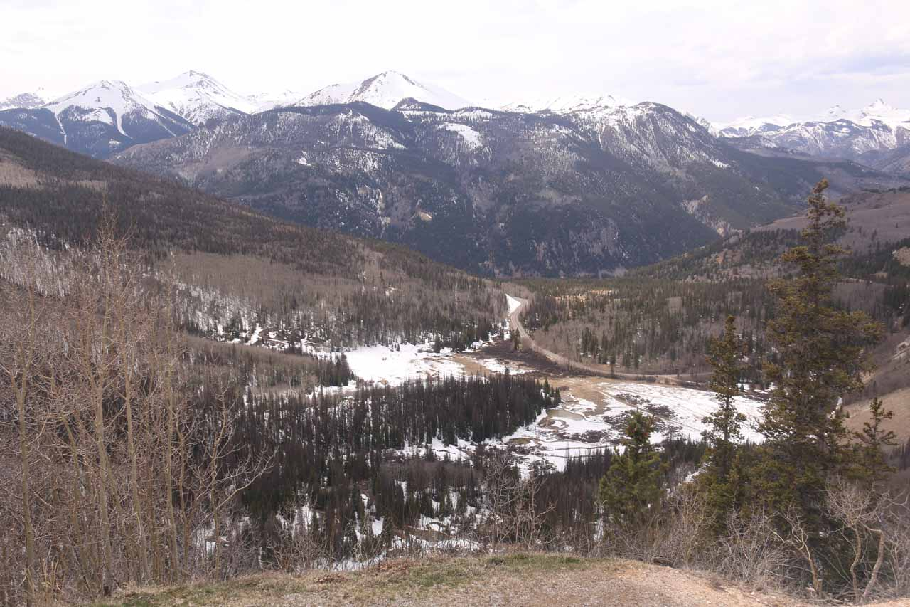 During the long drive from the Gunnison area towards North Clear Creek Falls, we crossed a pair of high altitude mountain passes. The Windy Point Overlook was one roadside stop along this Hwy 149