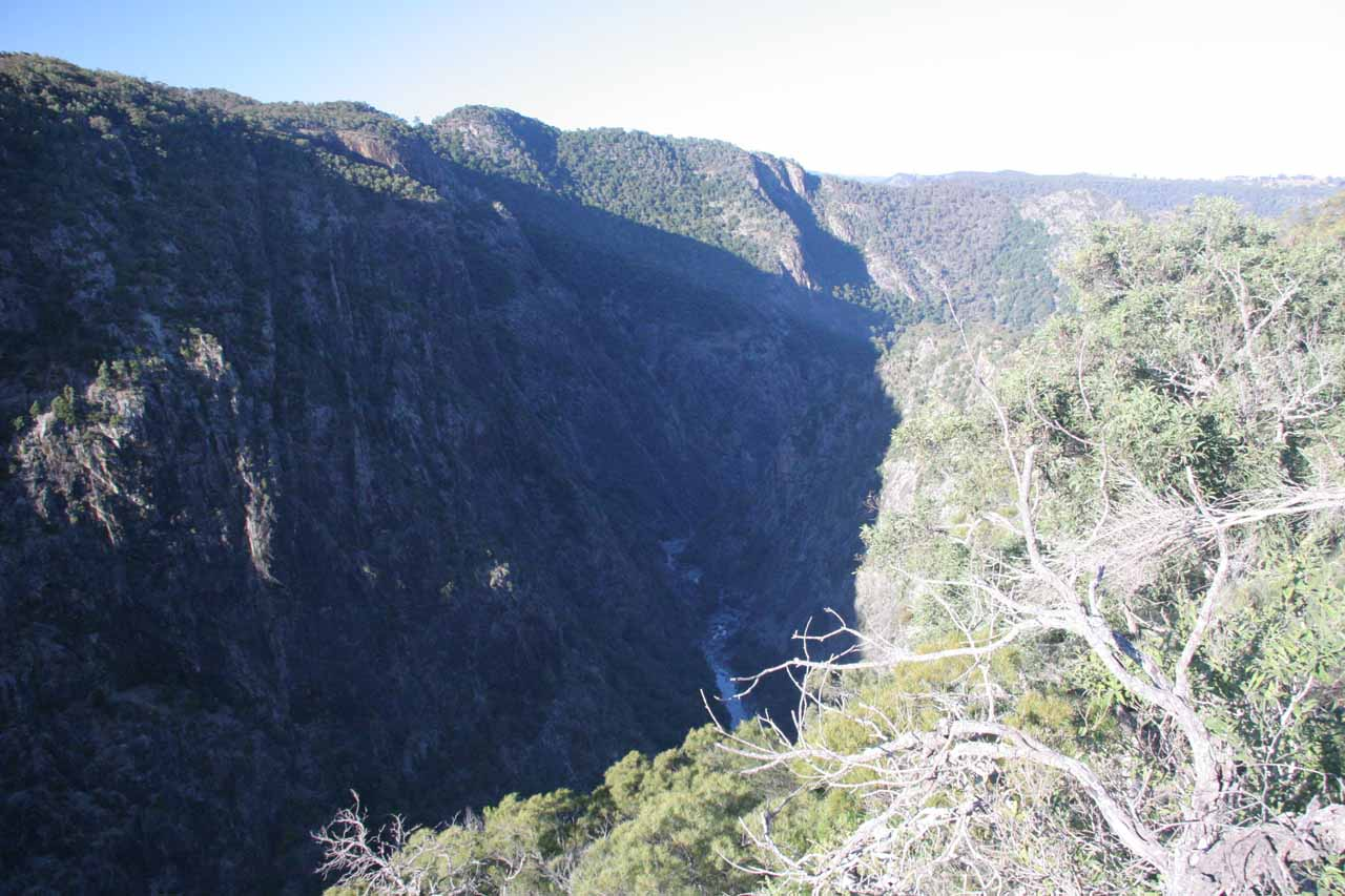 Looking downstream at the Wollomombi Gorge with terrible shadows