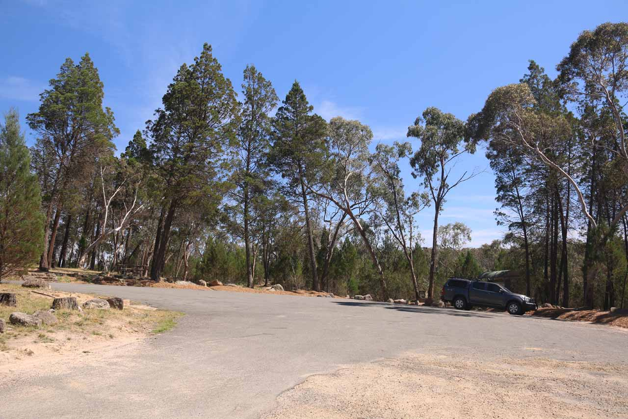 The main car park for Woolshed Falls