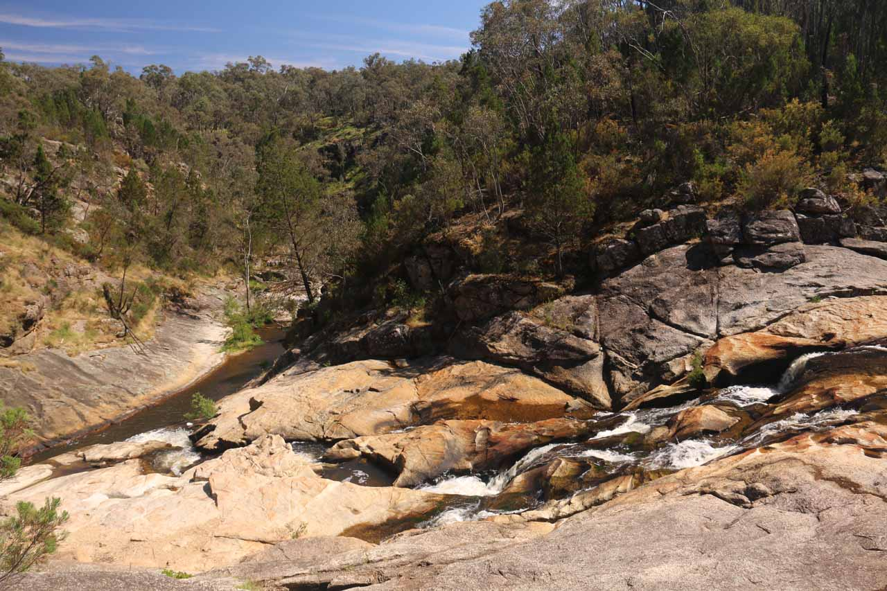 Looking over the top of the lowermost drop of Woolshed Falls