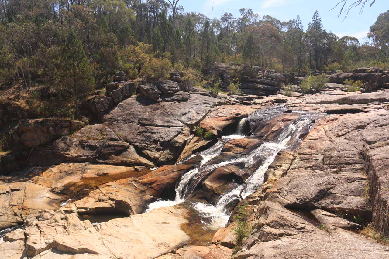 Looking upstream towards some of the upper tiers of Woolshed Falls