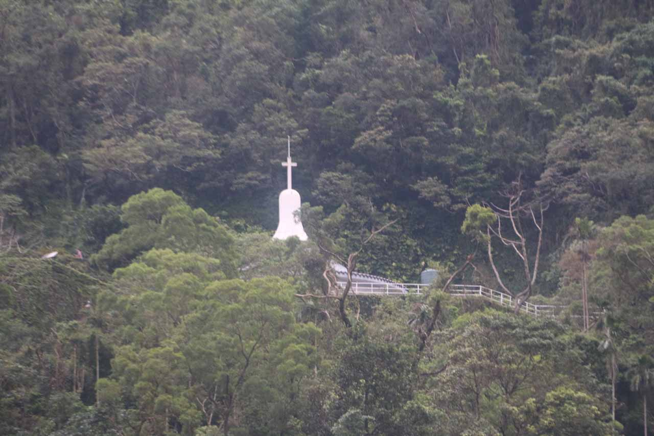 While by the dam, we noticed this white Catholic Church high up the mountain, which seemed out-of-place considering most religious structures in Taiwan were temples or shrines that were loudly ornate with reds and golds instead of plain white like this