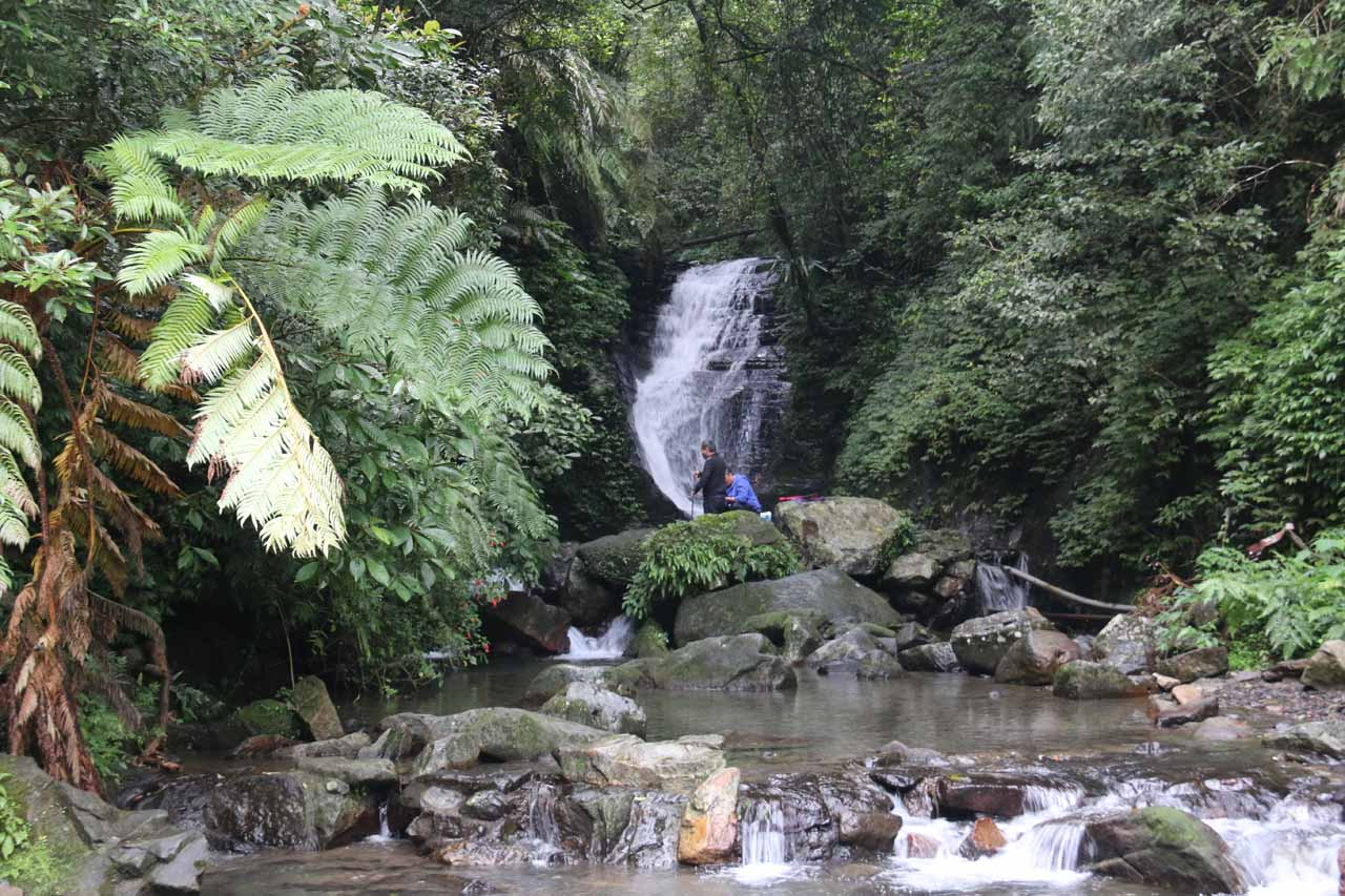 It wasn't long before we reached a bridge yielding this view of one of the Wufengchi Waterfalls