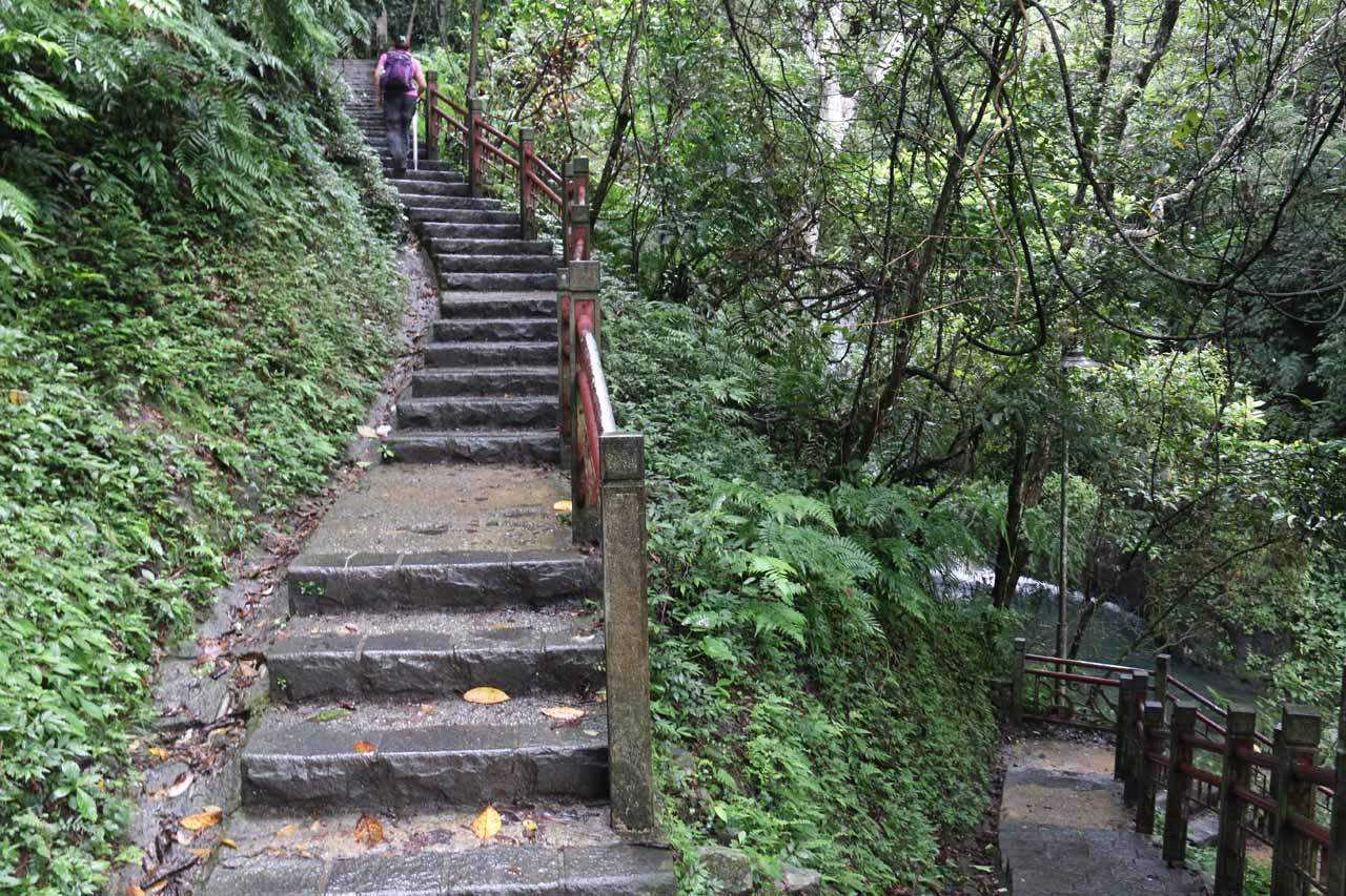 As we went by the lowermost of the Wufengqi Waterfalls, we had to walk up some series of steps