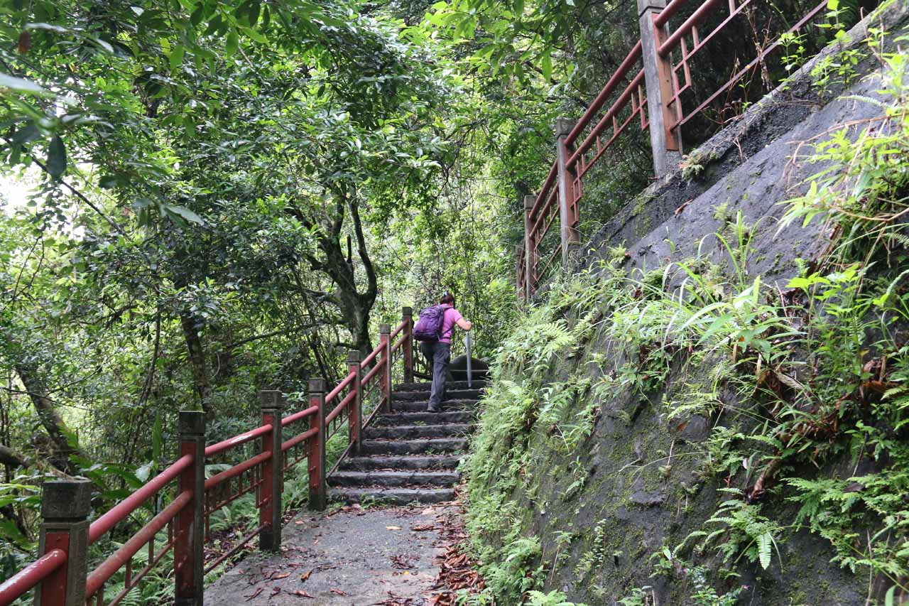 The trail continued climbing up to the #1 Wufengqi Waterfall