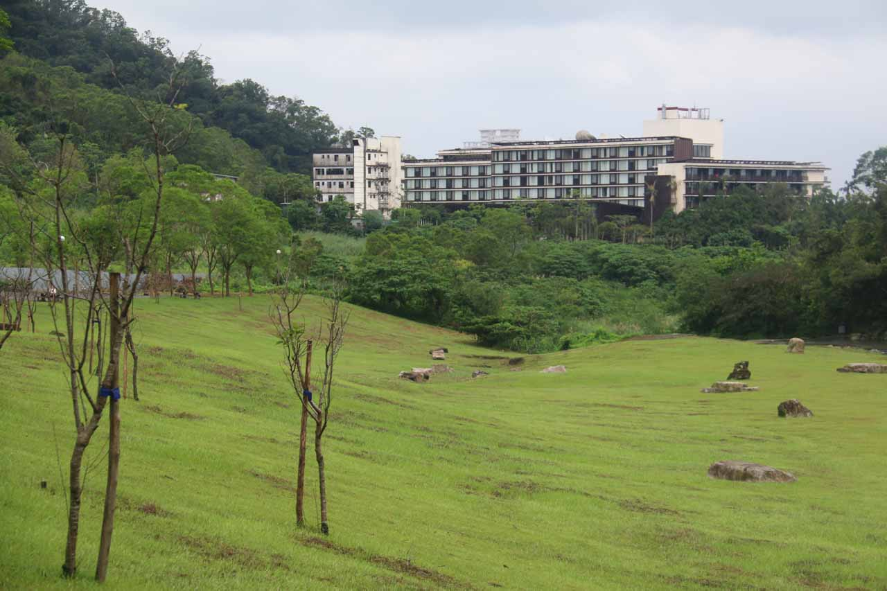 Looking towards the Jiaoxi Hot Springs Resort, which was said to be one of the high end luxury accommodations in the area