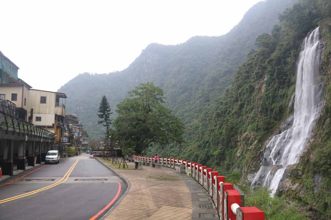Looking back at the context of the Wulai Waterfall and the town