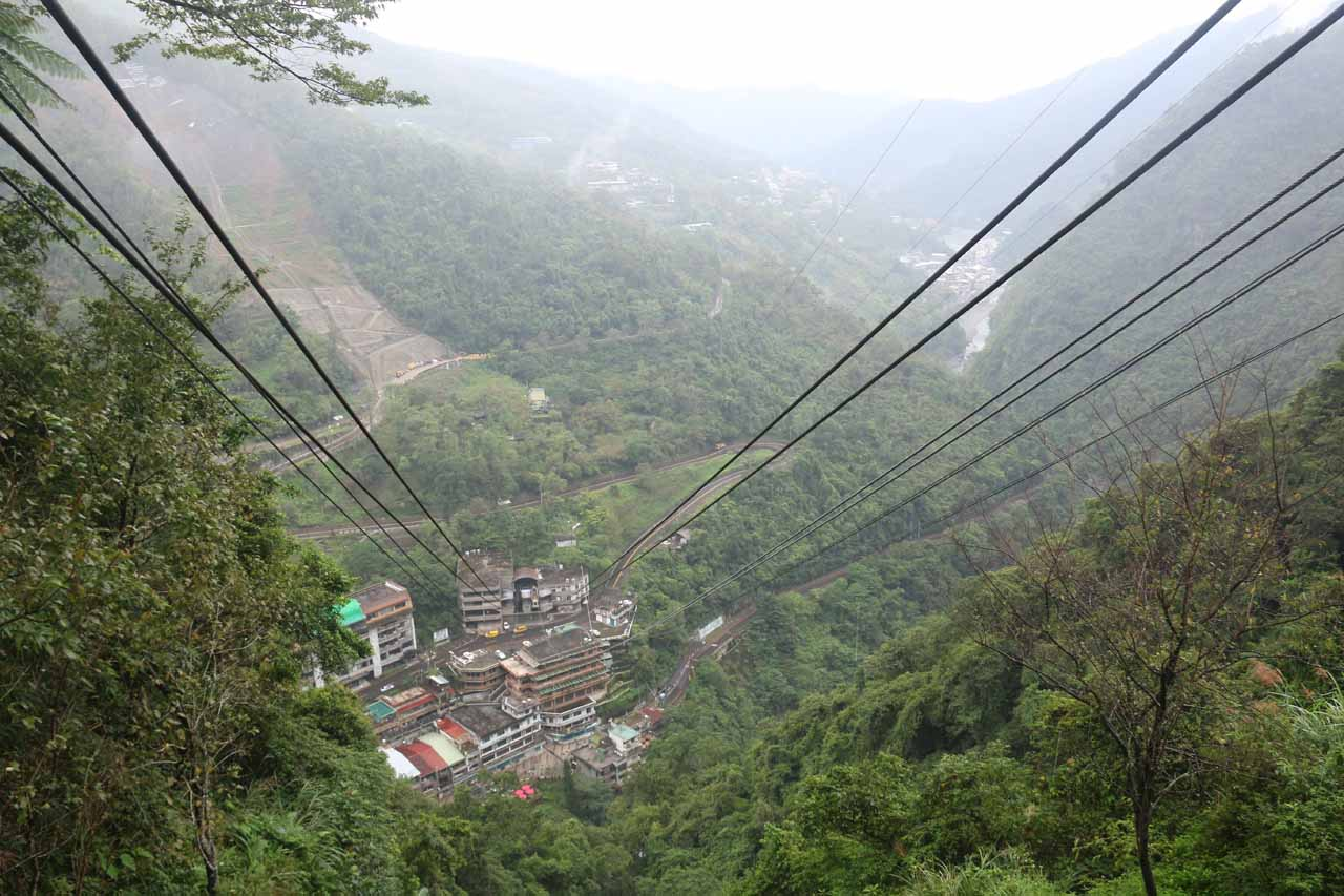 Looking back down at the Wulai Town from the upper cable car station