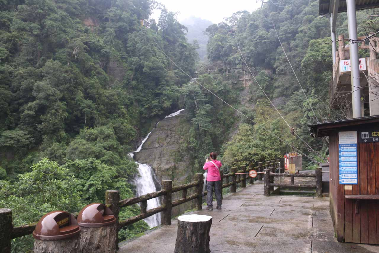 Mom checking out one of the hidden tiers of the Wulai Waterfall further upstream of the upper cable car station