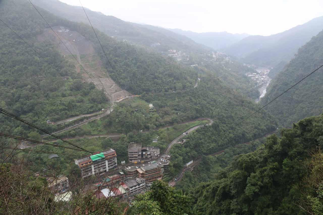 This was the panoramic view from the upper cable car station towards Wulai. Note the big scar on the mountainside to the topleft