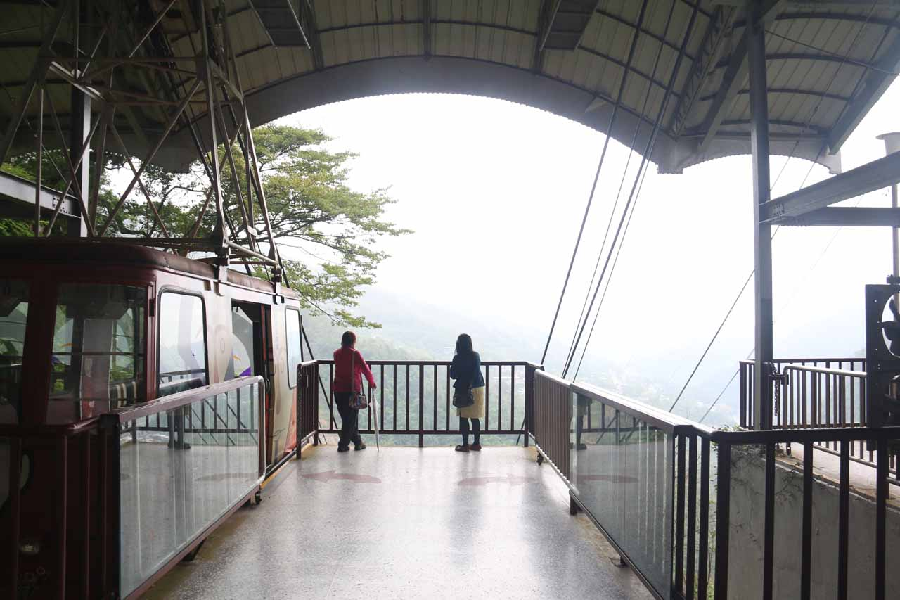 Waiting for the cable car operator to bring us back down to the Wulai Town