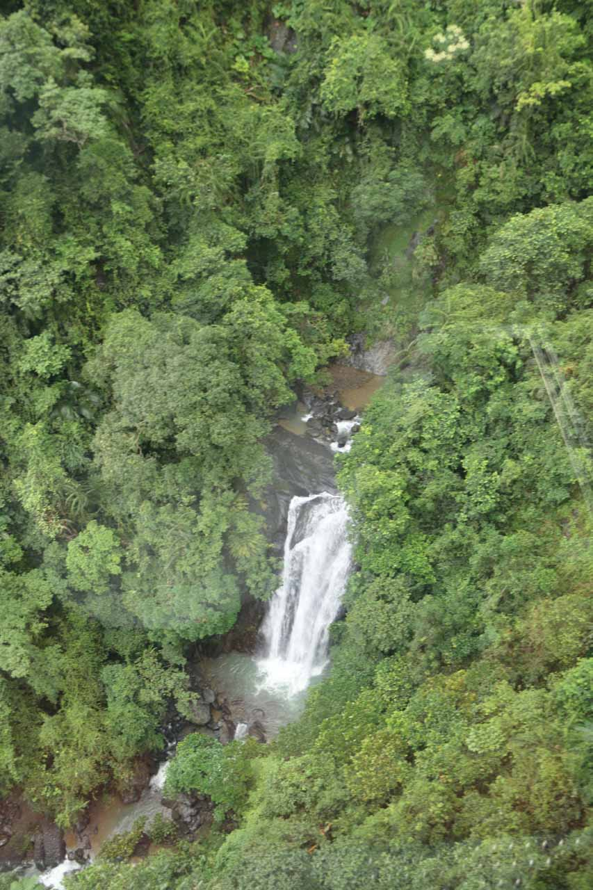 Looking down at one of the hidden tiers of the Wulai Waterfall seen only from the cable car