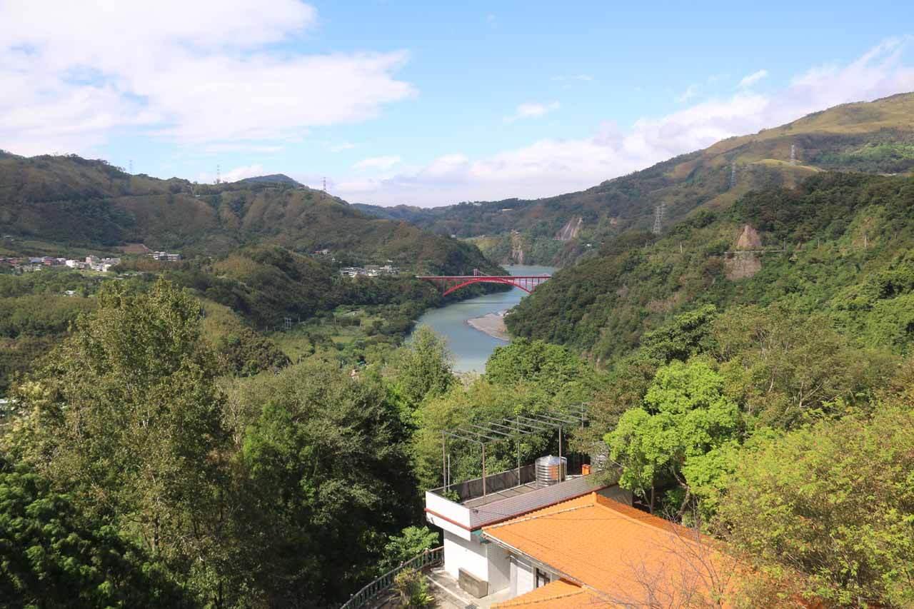 Looking downstream from the lookout deck towards the Daxi River