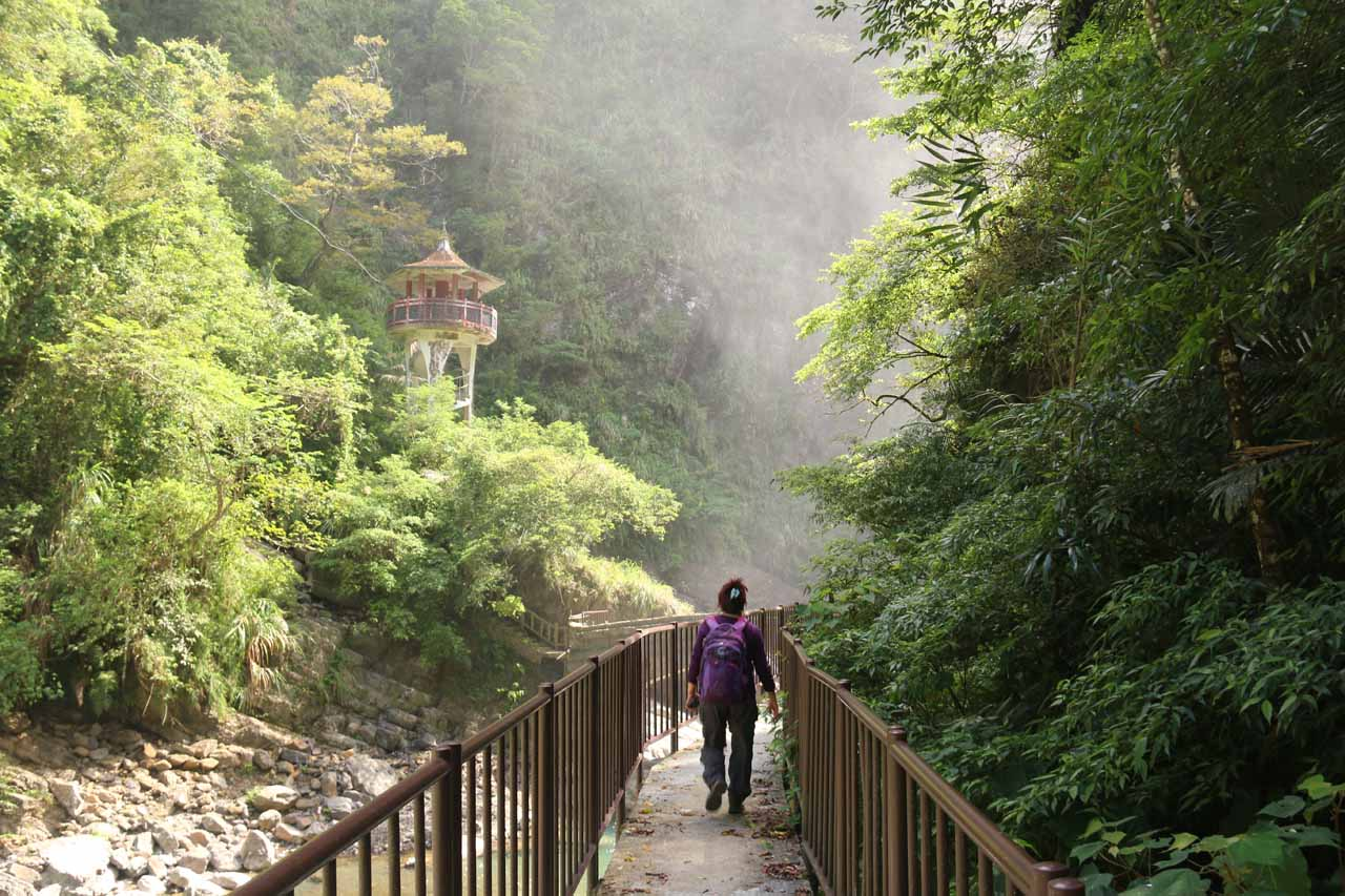 Getting closer to the base of the Xiao Wulai Waterfall as we were approaching the mist