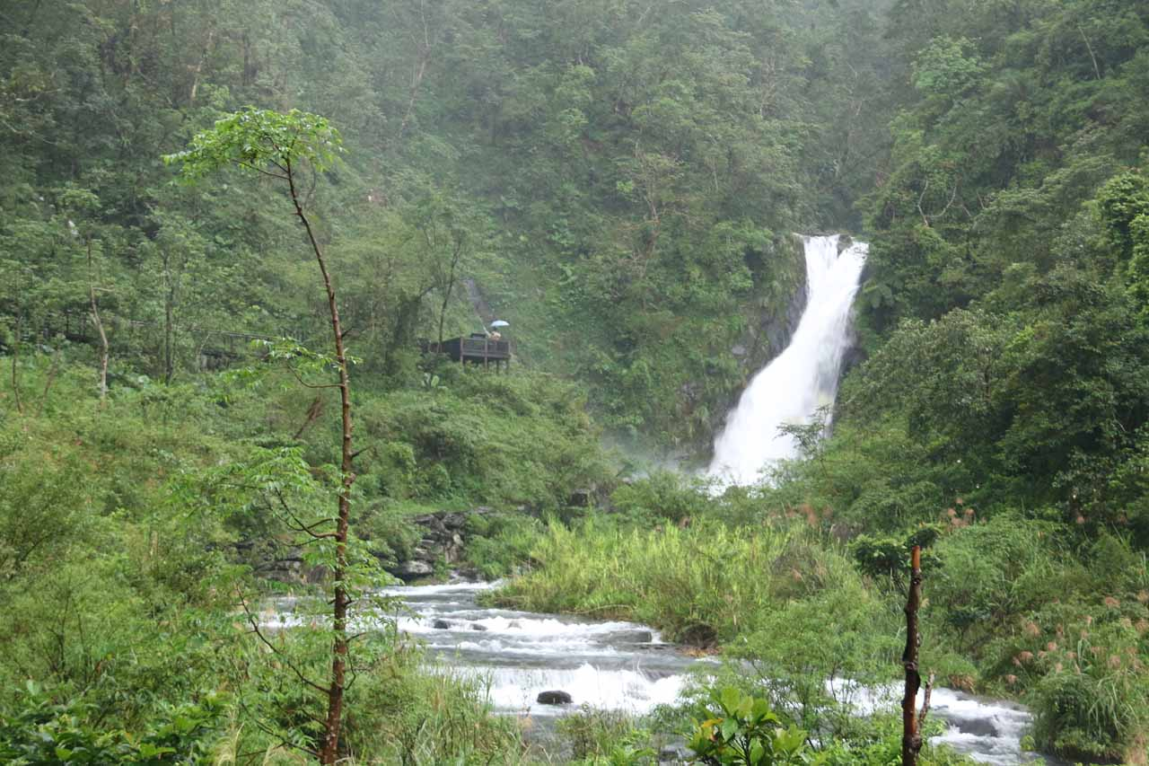 This was our first look at the Xinliao Waterfall from a distance. Note the lookout deck right across from it