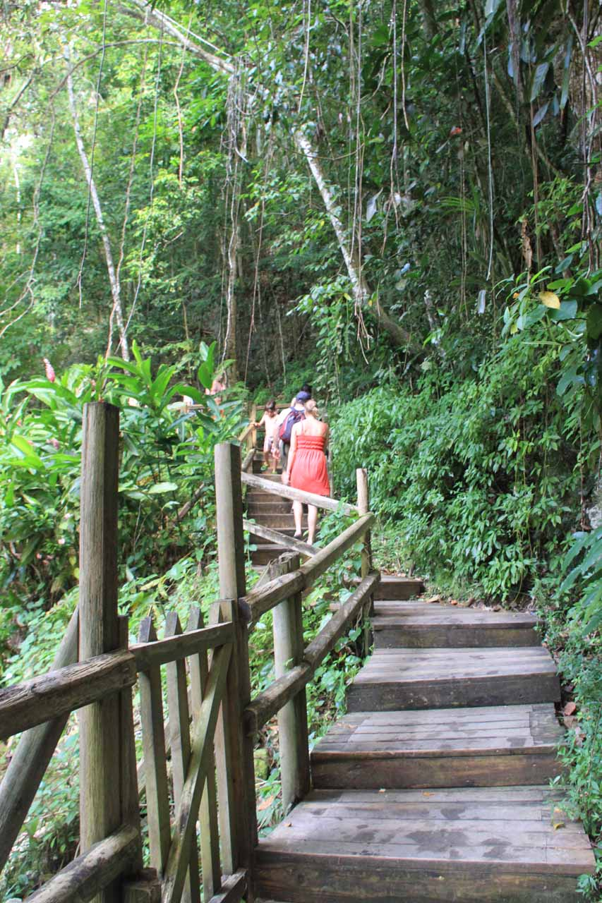 The walkway leading further up the falls