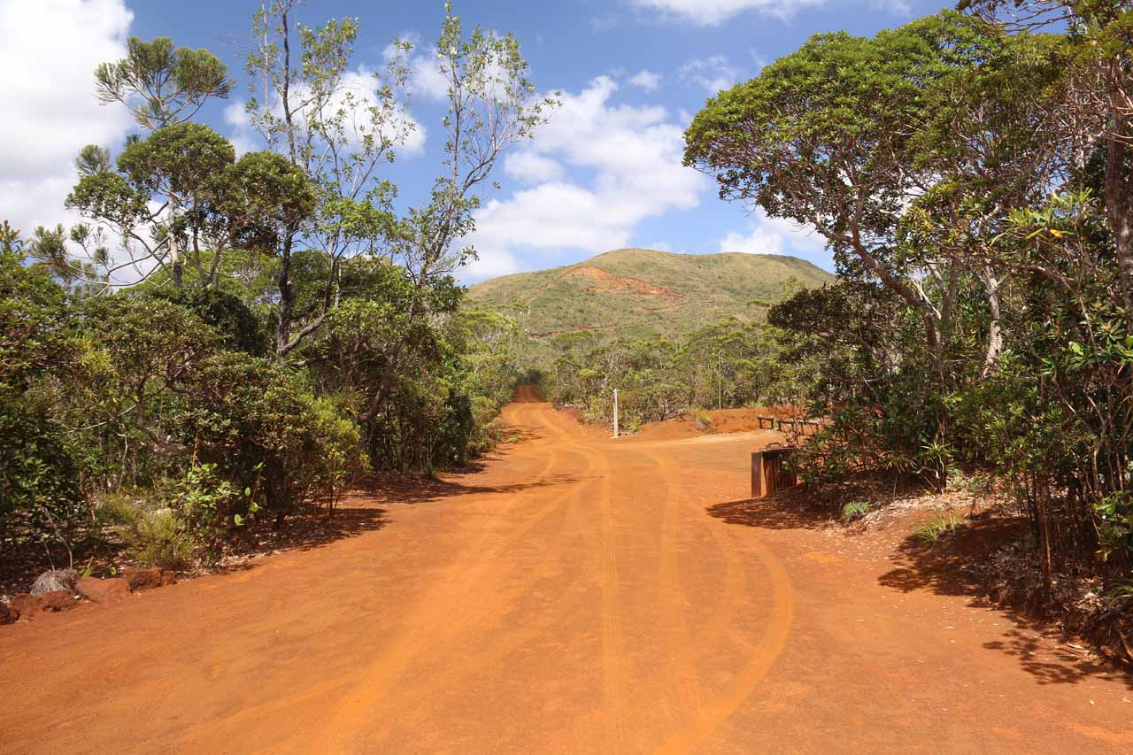 This was the unpaved red dirt road leading to the reserve of the Chute de la Madeleine
