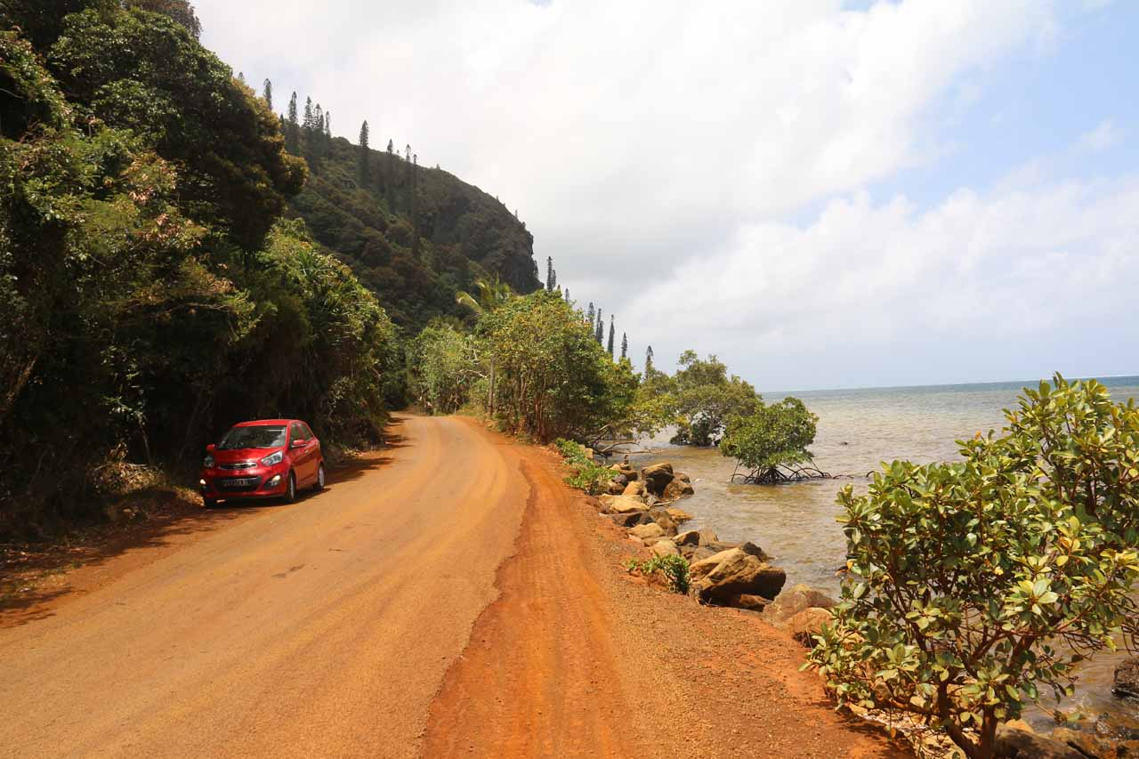 The road continued following very close to the water while still being unpaved