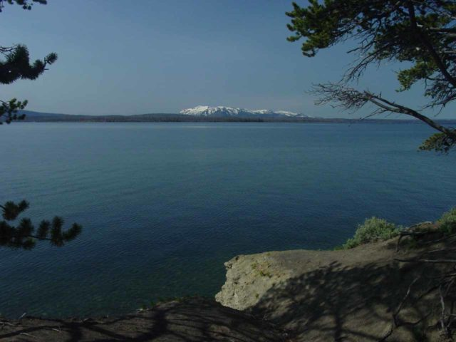 Yellowstone_Lake_001_06222004 - Further to the northeast of the Bechler Backcountry was the vast Yellowstone Lake, which was said to be tilting in one direction due to the bulge of magma beneath the Yellowstone Supervolcano