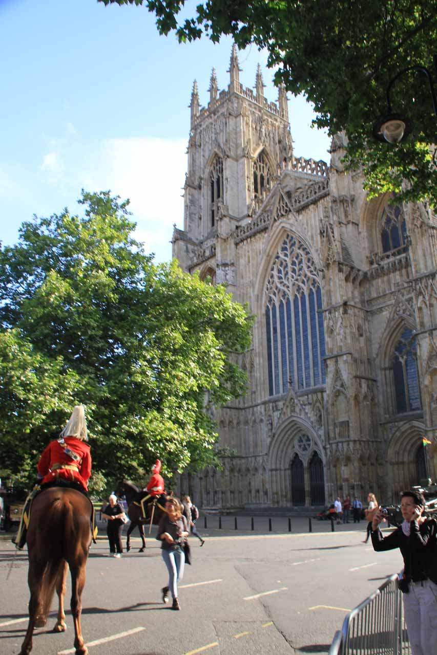 In front of York Minster with some military procession about to begin