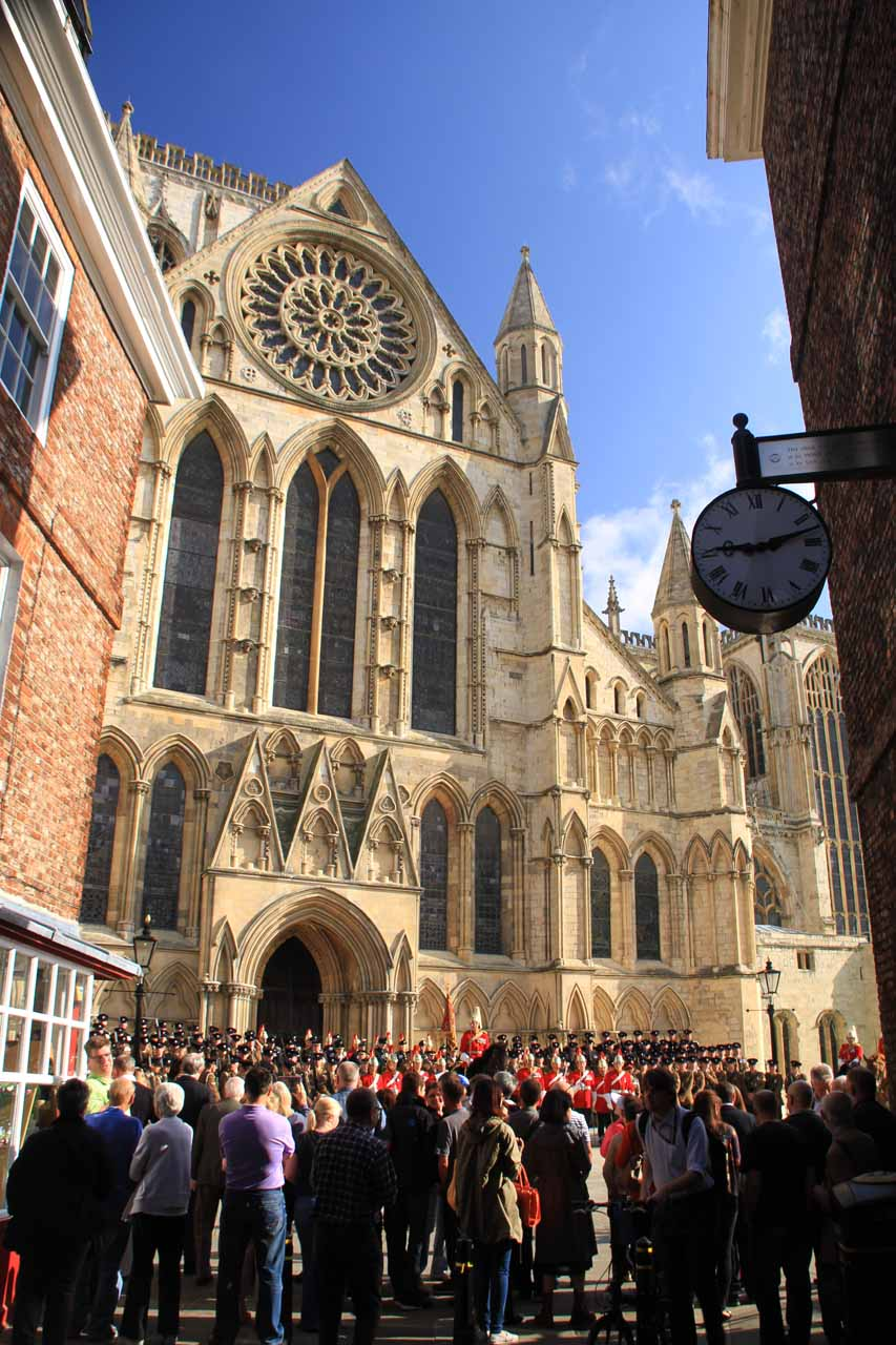 A crowd gathered before the York Minster to see what was going on with this military procession