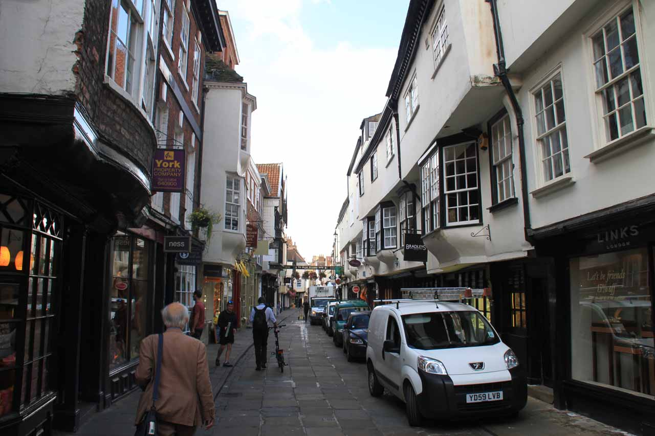 Walking a side street through York City Centre towards the main entrance to York Minster