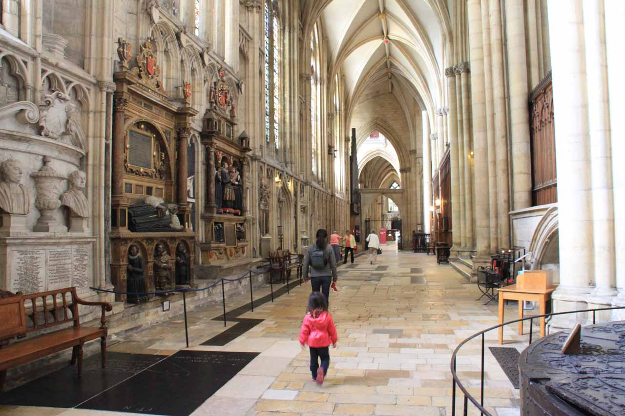 Julie and Tahia walking along one of the side corridors of the York Minster
