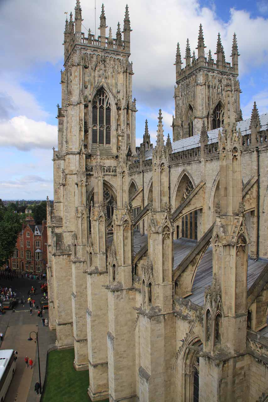 Side view of York Minster as I was making my way up to the top